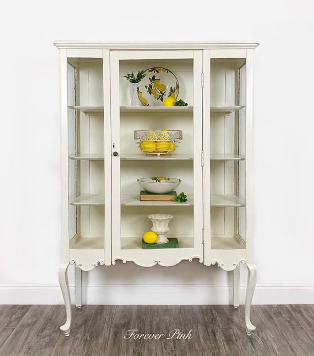 Antique White Glass Curio Cabinet by ForeverPinkVintage