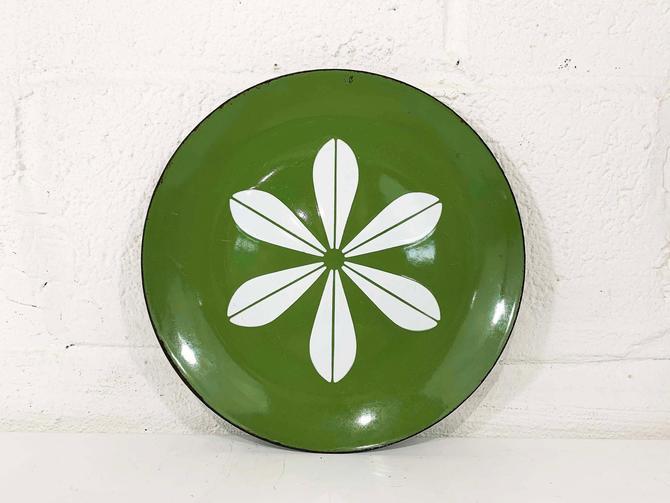 "True Vintage Cathrineholm Enamel 10"" Plate Tray Green White Lotus Leaf Norway Catherineholm Norwegian Scandinavian Mid-Century MCM 10 inch by CheckEngineVintage"