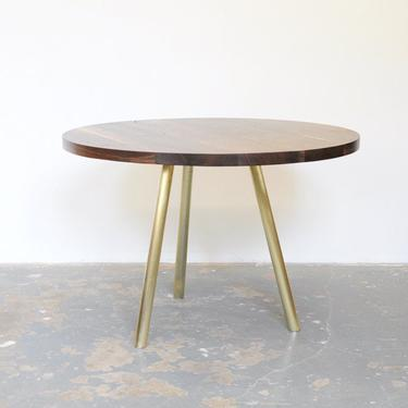"""Dining Table - 42"""" Round Black Walnut Top with Brass Base by OlivrStudio"""
