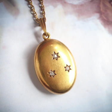 """Antique Diamond Locket Victorian .15ct t.w. Star Set Old Mine Cut Pendant Necklace Charm 14k Yellow Gold 22.5"""" Inch Chain by YourJewelryFinder"""