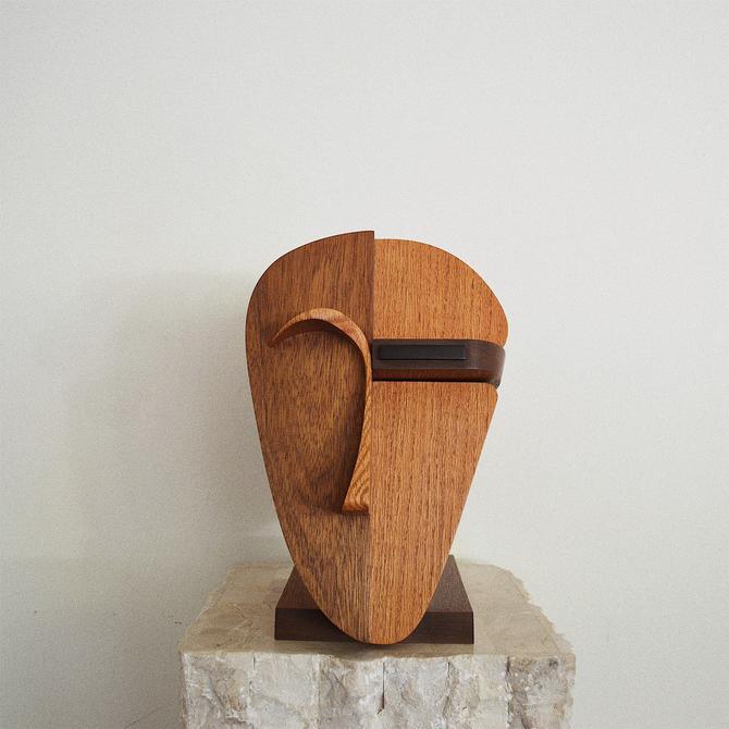Abstract Face Handcrafted Sculpture | Vintage Wooden Art Object | Modernist  Handmade Bust Figure | Oak, Walnut, Ebony by OxfordPatinaLA