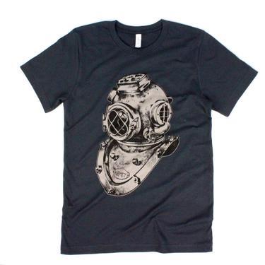Vintage Inspired Scuba Diver Helmet Charcoal Tee Shirt by VintageGaleria