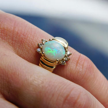 Vintage 14K Gold Opal & Diamond Cocktail Ring, Beautiful Opal Stone Ring With Accent Diamonds, Graduated 14K Yellow Gold Ring, Size 6 1/4 US by shopGoodsVintage