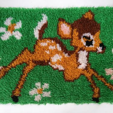 Vintage Bambi Latch Hook Rug, Prancing Fawn With Daisies, Handmade by luckduck