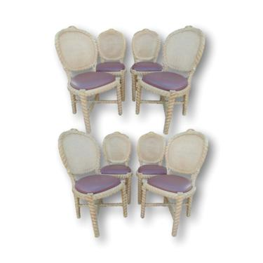 Set of Eight Vintage Italian Cane Back and Carved Rope Faux Bois Style Dining Chairs by VeronaVintageHome