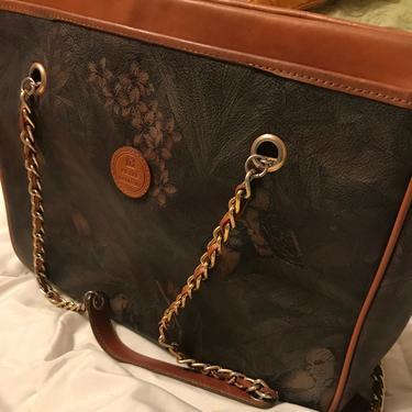 Vintage 1970s Pierre Balmain Shoulder Bag    Large    Chainlink Shoulder Straps    Three Pocket Dividers by CelosaVintage