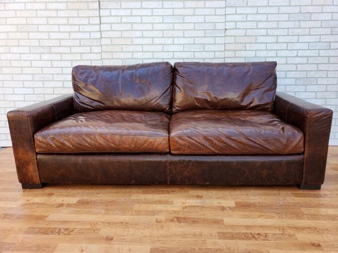 Restoration Hardware Classic 7 Feet Italian Brompton Cocoa Maxwell Leather Sofa