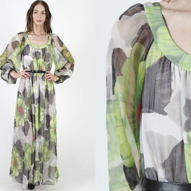 Tropical Floral Chiffon Dress / Long Sheer Puff Sleeves / Big Flower Lightweight Green Maxi Dress / Tropical Print Flowy Full Skirt Dress by americanarchive