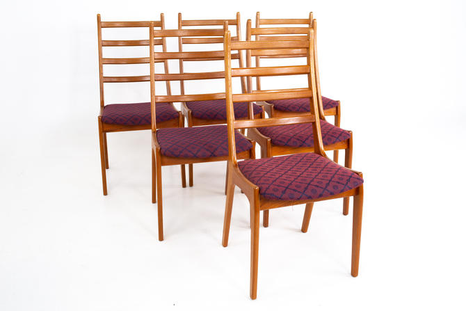 Korup Stolefabrik Mid Century Teak High Ladderback Dining Chairs - Set of 6 - mcm by ModernHill