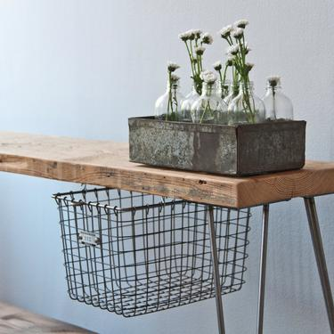 Rustic Wood Bench with sliding locker basket drawer made with reclaimed wood and hairpin legs.  Choose size and finish. by UrbanWoodGoods