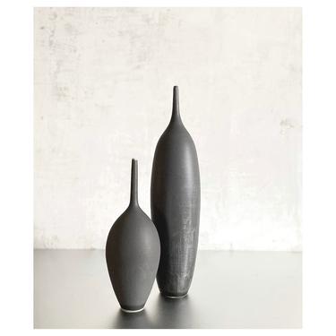 SHIPS NOW-  Set of Two Stoneware Bottle Vases Glazed in Slate Black Matte by Sara Paloma Pottery. modern minimal mid century decor tall vase by sarapaloma