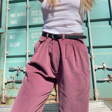 Vintage Corduroy Pants / Pleated Waist Trousers / 90's EDDIE BAUER Wide Wale Cord Slacks / Sz 32 by smockwalkervintage