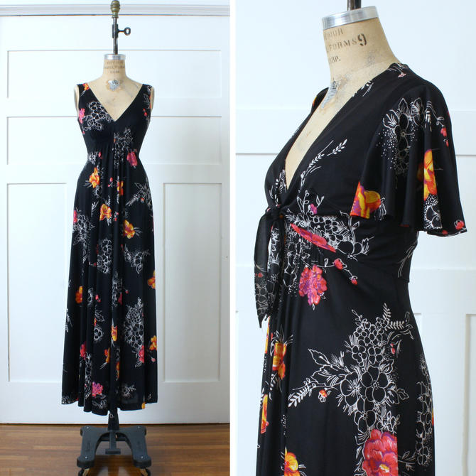 vintage 1970s maxi dress & flutter sleeve capelet • black floral with bright pink and orange • sexy seventies full length dress by LivingThreadsVintage