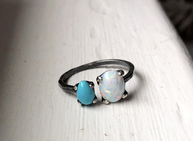 Turquoise and opal oxidized black dual ring by RachelPfefferDesigns
