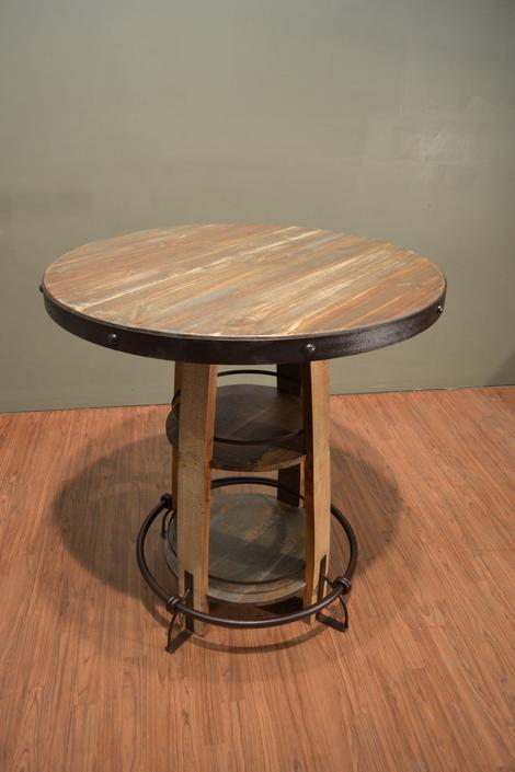 Rustic Bistro Table with shelves and foot rest made of solid Reclaimed wood by RusticShop1
