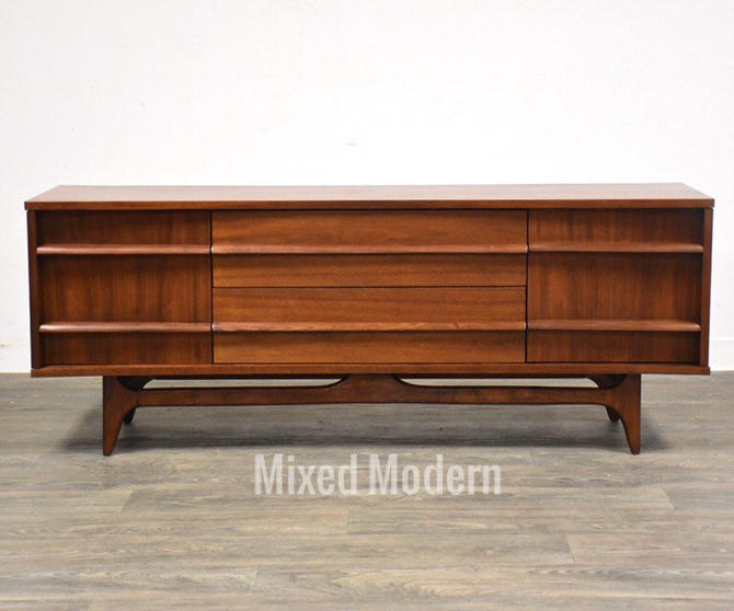 Young Manufacturing Walnut TV Console Credenza by mixedmodern1