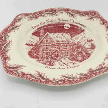 Johnson Bros Noble Excellence Twas the night before Xmas Bless This House Platter 11inch by JoAnntiques