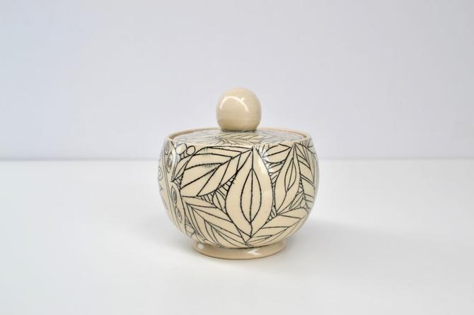 Black Light Sgraffito Jar