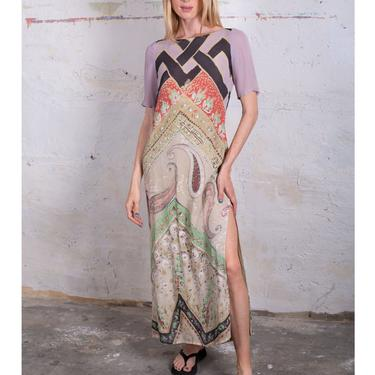 Vintage ETRO Pastel Mixed Print Silk Watercolor Dress with Smocked Back and Side Slits Paisley Maxi Smocking S M Abstract by backroomclothing
