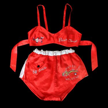 RARE 1940s WWII Lingerie Set / 40s Novelty Bright Red Satin Bra Panties / Embroidered Risque / Dont Touch / Off Limits by GuermantesVintage