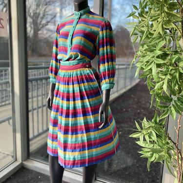ESCADA Vintage 100% Silk Striped Three Piece Matching Outfit - Size 4 - 1970s Blouse, Skirt, Scarf Colorful Stripes by AIDSActionCommittee