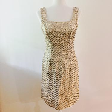 60s Gold and Cream Sequined Wiggle Dress | Extra Small/Small by MuteVintage
