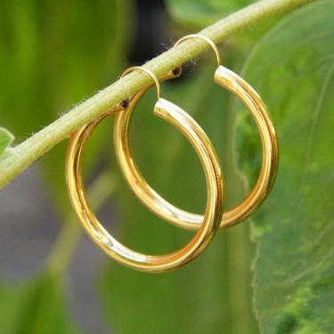 """Vintage 14K Gold Huggie Hoops, Hollow Tube Hoop Earrings, Minimalist Yellow Gold Hoops, Medium Sized Hoops, Lightweight, 1 1/2"""" by shopGoodsVintage"""