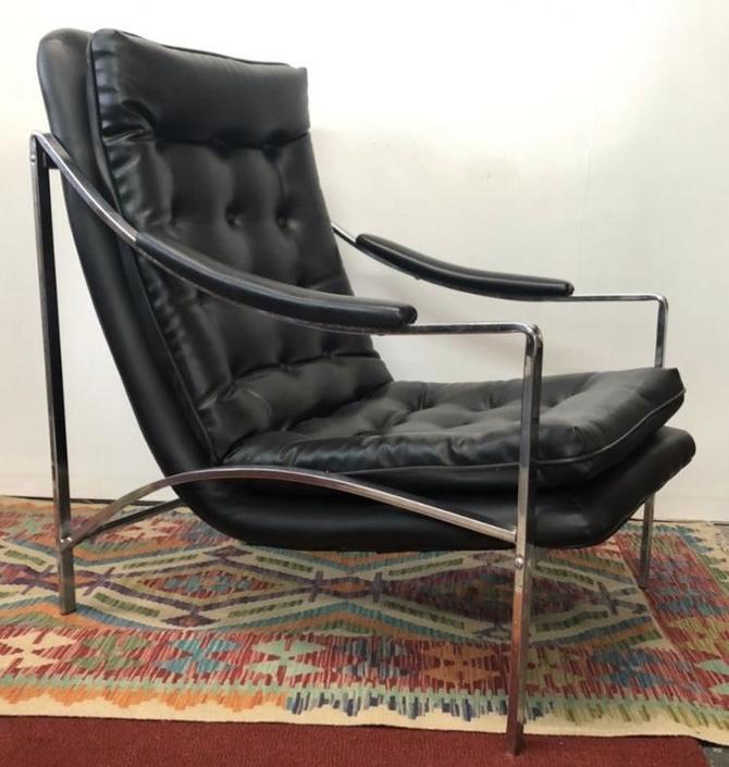 Black Vinyl & Chrome Chair