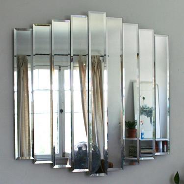 Vintage Cascading Nine Panel Tiered Wall Mirror by IridiumInteriors