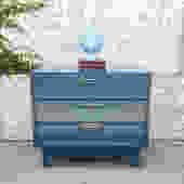 Vintage teal 3 drawer campaign dresser