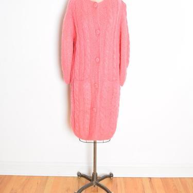 vintage 60s sweater coat hot pink mohair wool cardigan jumper jacket L XL clothing by huncamuncavintage