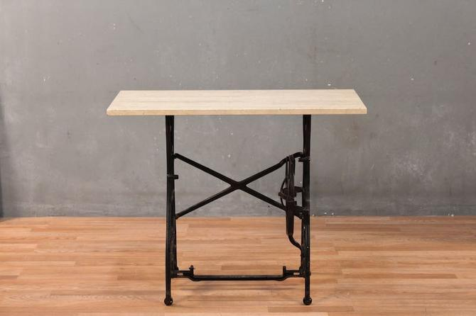 White Travertine & Iron Sewing Machine Table – ONLINE ONLY