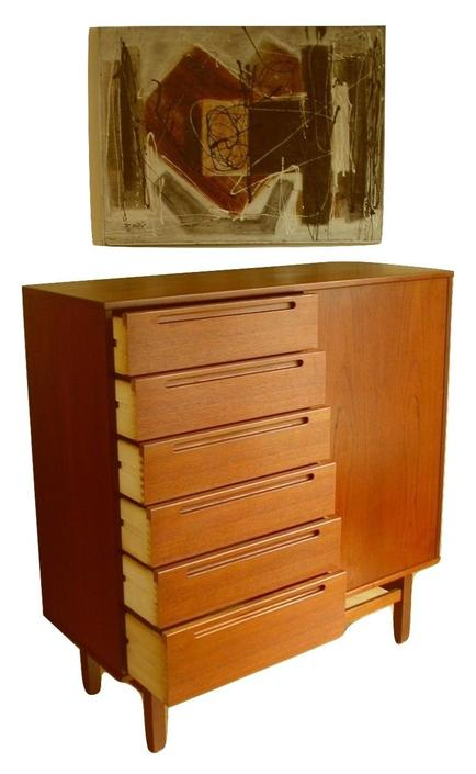 Danish Modern Teak Dresser Gentleman's Chest By Nils Jonsson for HJN Mobler