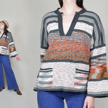 1970's Space Dye Sweater | 1970's Bell Sleeve Sweater by WisdomVintage