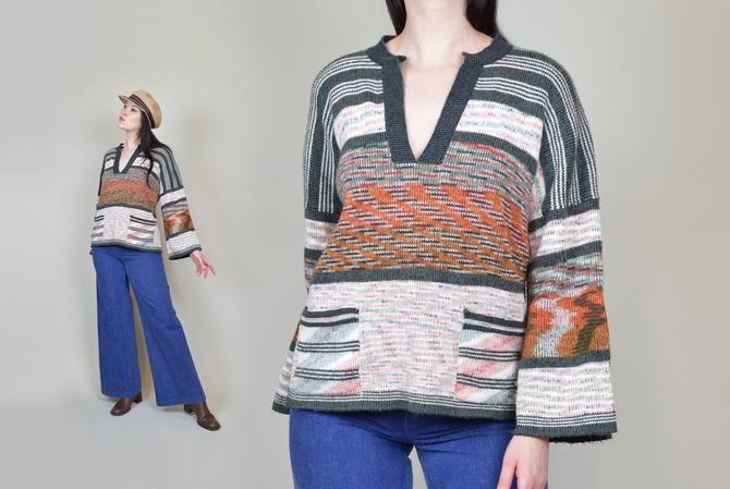 1970's Space Dye Sweater   1970's Bell Sleeve Sweater by WisdomVintage