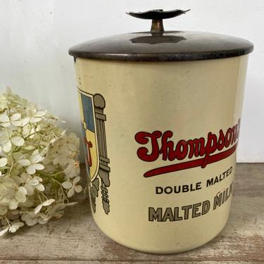 Antique Thompson's Double Malt Malted Milk Porcelain Canister With Lid, Malted Milk Container, Soda Fountain, Antique Advertising by luckduck