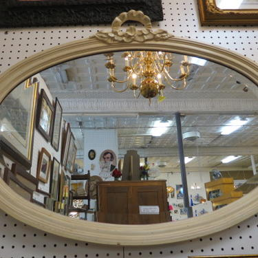 Vintage Antique style cream oval mirror, c2000.