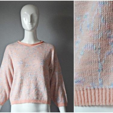 vtg 80s Yarnworks pink pastel + rainbow swirl knit sweater abstract floral | 1980s long sleeve pullover | ribbed trim sweater colorful by PinkhamRoadRetro