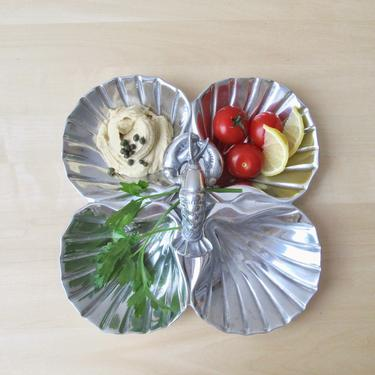 pewter scallop shell lobster handle dip tray vintage Wilton Armetale seafood serving tray by ionesAttic