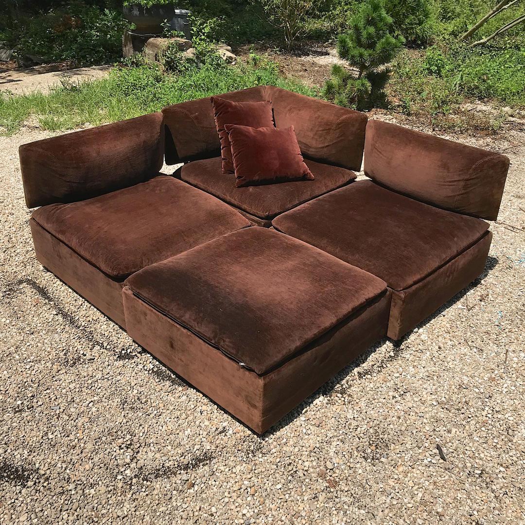 Chocolate Sectional Sofa Modular (Removable+Re-positional Backs!) Vintage  Mid-Century Modern Milo Baughman Adrian Pearsall Ottoman by BrainWashington  ...