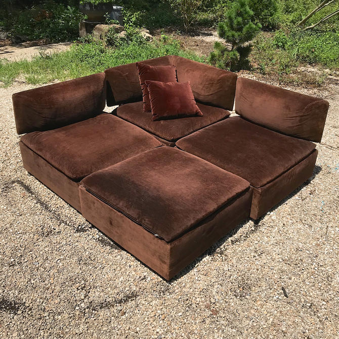 Chocolate Sectional Sofa Modular (Removable+Re-positional Backs!) Vintage  Mid-Century Modern Milo Baughman Adrian Pearsall Ottoman by BrainWashington