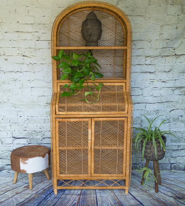 SHIPPING NOT FREE!!!Vintage Rattan Cabinet/ Wicker Hutch/Etagere Shelving Cabinet/Bookcase (Mint Condition!!!) by WorldofWicker