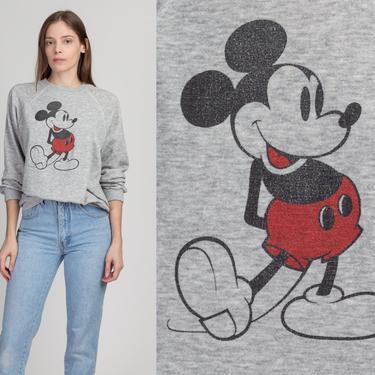 80s Mickey Mouse Sweatshirt - Large | Vintage Heather Gray Raglan Sleeve Disney Cartoon Pullover by FlyingAppleVintage