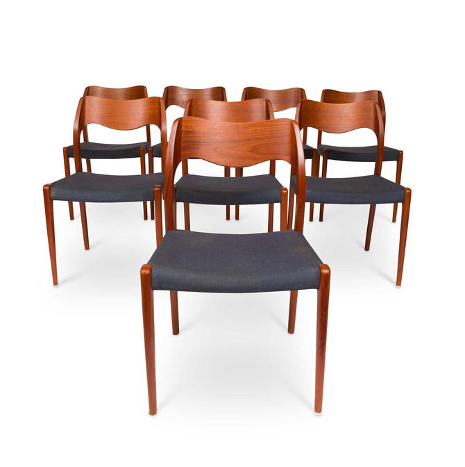 Vintage Niels Otto Møller Model 71 Chairs (set of eight) ca 1950 by MCMSanFrancisco