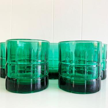Vintage Anchor Hocking Tartan Old Fashioned Tumblers Set of Five (5) Rocks Glasses Barware Bar Forest Dark Green Glass Plaid Highball 1960s by CheckEngineVintage