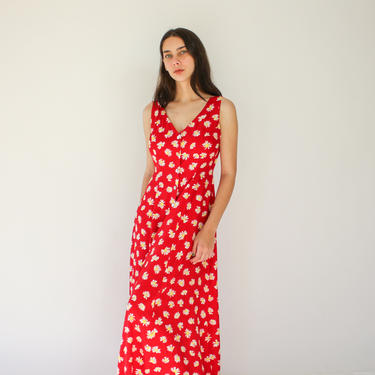Vintage 90s Express Red Daisy Print Rayon Bohemian Summer Dress | 100% Rayon | Botton Front, Ruche Elastic Back | 1990s Grunge Era Dress by TheVault1969