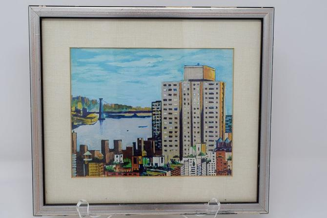 "Vintage Cityscape Print signed ""Tony Bennett"" by CapitolVintageCharm"