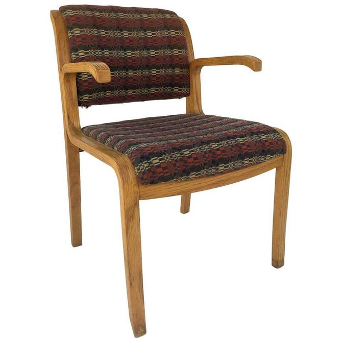 Thonet Bentwood Oak Upholstered Armchair, circa 1970s