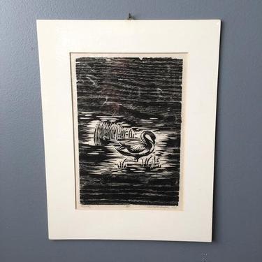 Woodcut swan print - Serenity - 1977 artist proof by NextStageVintage