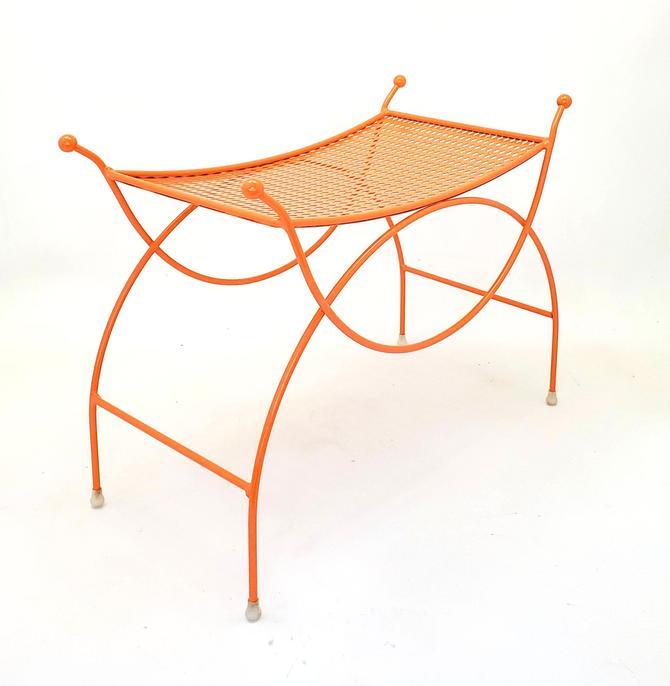Vanity Chair Mid Century Modern Pierced Metal Orange Seat Stool Bench Girls Dressing Room Bathroom Bridal Shop Vintage Regency Makeup by MakingMidCenturyMod